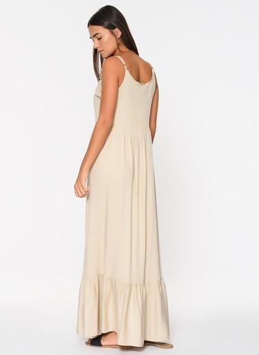 Loves You Eteği Volanlı Tensel Viskon Askılı Elbise Bej